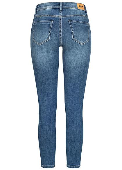 ONLY Damen NOOS Skinny Jeans Hose 5-Pockets Regular Waist Crash Optik medium blau denim