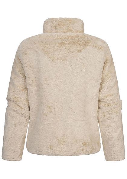 ONLY Damen NOOS Kunstfelljacke mit Stehkragen 2-Pockets pumice stone beige