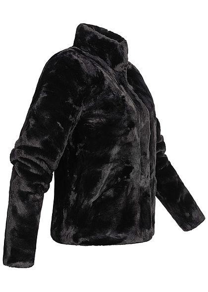 ONLY Damen NOOS Kunstfelljacke mit Stehkragen 2-Pockets schwarz