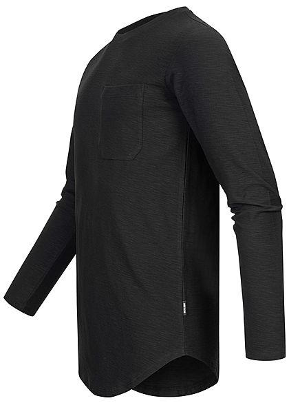 ONLY & SONS Herren NOOS Longform Longsleeve Pullover Brusttasche schwarz