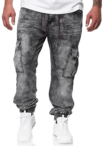 Urban Surface Herren Cargo Jeans Hose 7-Pockets Tunnelzug vintage washed grau denim - Art.-Nr.: 20094440