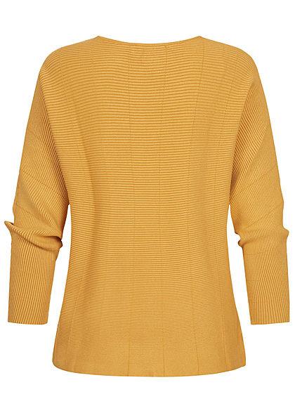 Tom Tailor Damen Ribbed Fledermausarm Pullover indian spice gelb