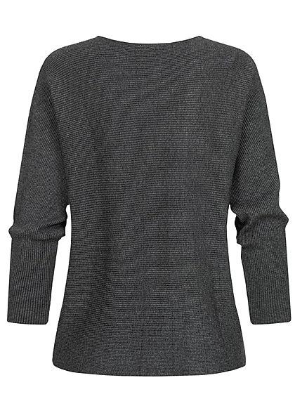 Tom Tailor Damen Ribbed Fledermausarm Pullover shale dunkel grau melange