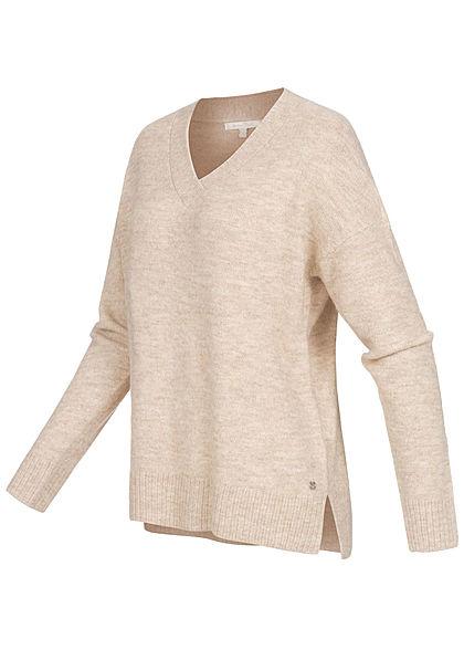 Tom Tailor Damen Nice Cosy V-Neck Strickpullover lockerer Schnitt cozy beige melange