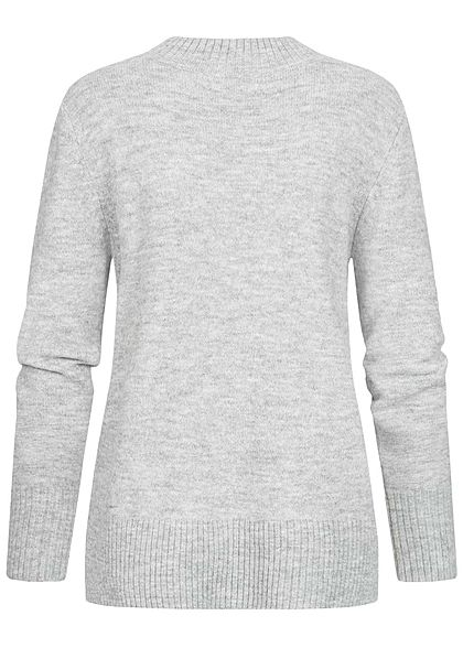 Tom Tailor Damen Nice Cosy Oversized Mock Neck Strick Pullover light silver grau mel