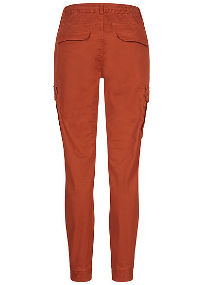 Eight2Nine Damen Cargo Stoffhose 6-Pockets Tunnelzug Rippbündchen rusty orange