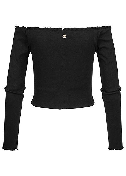 Eight2Nine Damen Off-Shoulder Cropped Rib Shirt Longsleeve Deko Knopfleiste schwarz