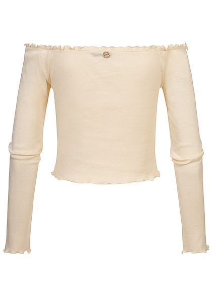 Eight2Nine Damen Off-Shoulder Cropped Rib Shirt Longsleeve Deko Knopfleiste swan weiss