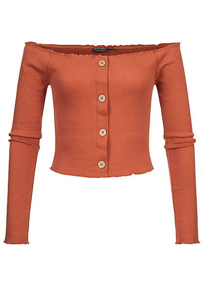 Eight2Nine Damen Off-Shoulder Cropped Rib Shirt Longsleeve Deko Knopfleiste terracotta - Art.-Nr.: 20094458
