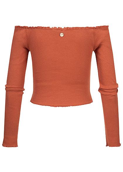 Eight2Nine Damen Off-Shoulder Cropped Rib Shirt Longsleeve Deko Knopfleiste terracotta