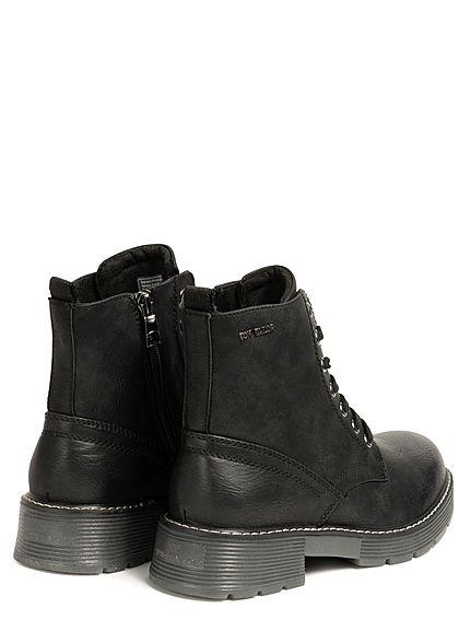 Tom Tailor Damen Schuh Worker Boots Halbstiefel Kunstleder Zipper seitlich schwarz