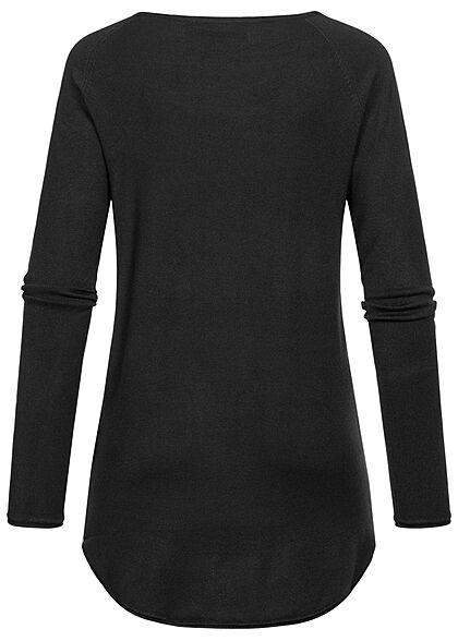 ONLY Damen NOOS Long Pullover mit Rollkante am Saum schwarz