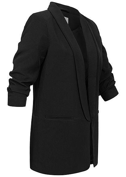 ONLY Damen NOOS 3/4 Arm Longform Blazer 2-Pockets offene Front schwarz