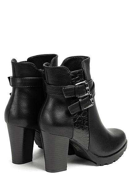 Seventyseven Lifestyle Damen Schuh Stiefelette Snake Optik Doppelschnalle schwarz