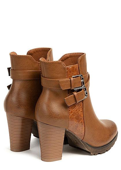 Seventyseven Lifestyle Damen Schuh Stiefelette Snake Optik Doppelschnalle camel braun