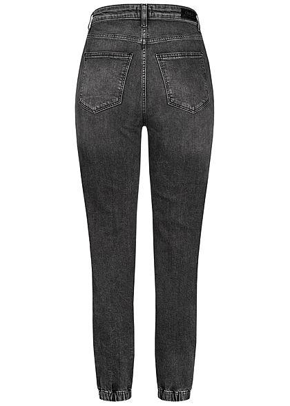 ONLY Damen Ankle Baggy Jeans Hose 4-Pockets High-Waist Gummibund dunkel grau denim