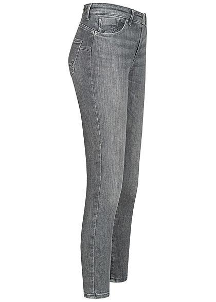 ONLY Damen Power Shape-Up Skinny Jeans Hose 5-Pockets Mid-Waist medium grau denim