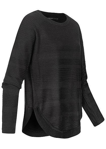 ONLY Damen NOOS Struktur Pullover Vokuhuila schwarz
