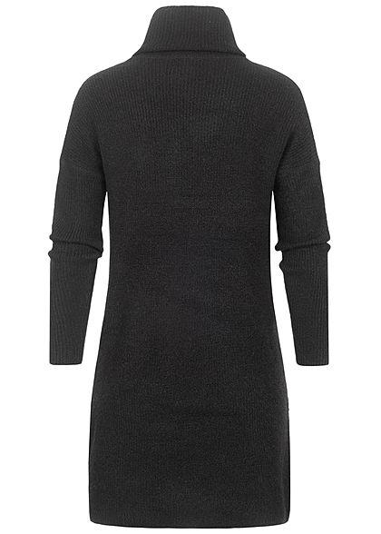 ONLY Damen NOOS Rollkragen Mini Woll Strickkleid schwarz