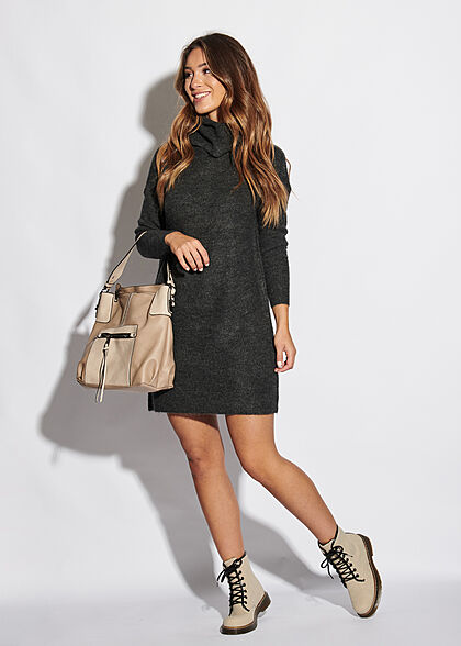 ONLY Damen NOOS Rollkragen Mini Woll Strickkleid dunkel grau melange