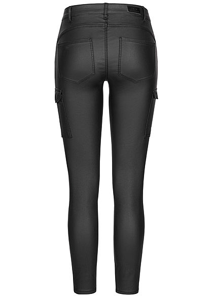 ONLY Damen Skinny Kunstleder Cargo Hose 4-Pockets Regular Waist schwarz