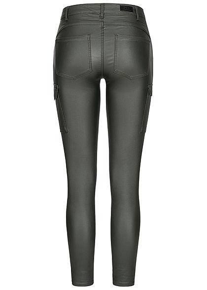 ONLY Damen Skinny Kunstleder Cargo Hose 4-Pockets Regular Waist rosin dunkel grün