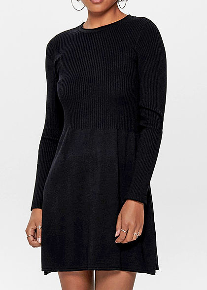 ONLY Damen NOOS Mini Ribbed Strickkleid schwarz