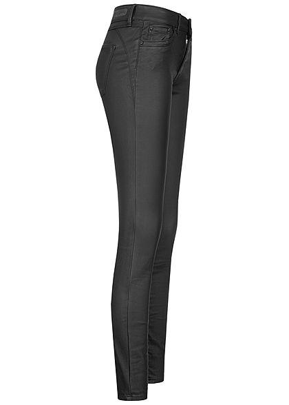 Tom Tailor Damen Extra Skinny Kunstleder Hose 5-Pockets Low Waist coated schwarz