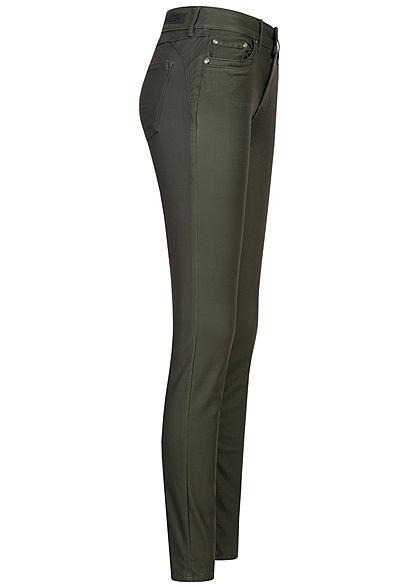 Tom Tailor Damen Extra Skinny Kunstleder Hose 5-Pockets Low Waist dunkel grün
