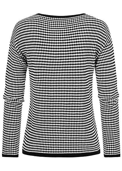 Tom Tailor Damen Struktur Strickpullover Karo Muster schwarz weiss