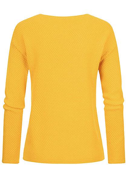 Tom Tailor Damen Struktur Strickpullover california sand gelb