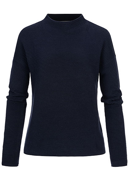 Tom Tailor Damen High-Neck Ottoman Struktur Sweater Strickpullover sky capt. blau - Art.-Nr.: 20094517