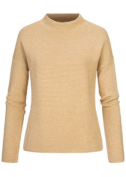 Tom Tailor Damen High-Neck Ottoman Struktur Sweater Strickpullover warm sand mel. - Art.-Nr.: 20094518