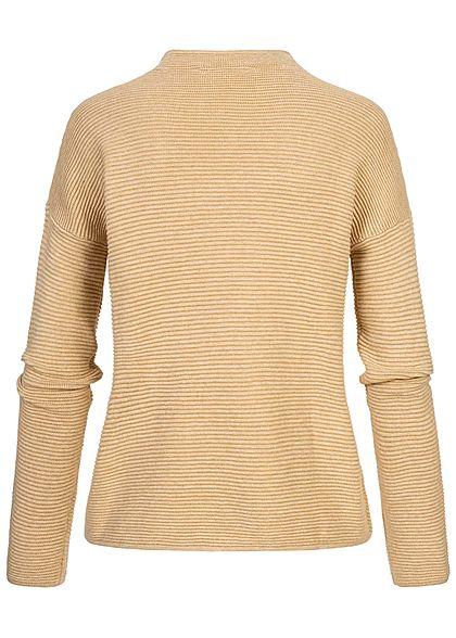 Tom Tailor Damen High-Neck Ottoman Struktur Sweater Strickpullover warm sand mel.
