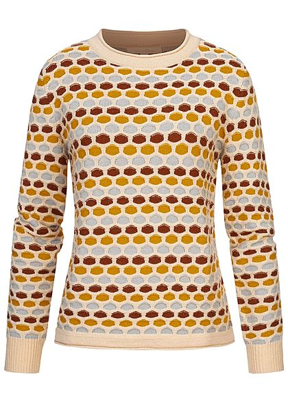 Tom Tailor Damen Multicolor Struktur Strickpullover Punkte Muster multicolor - Art.-Nr.: 20094519