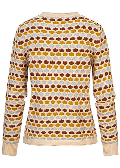 Tom Tailor Damen Multicolor Struktur Strickpullover Punkte Muster multicolor