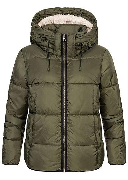 Tom Tailor Damen Winter Steppjacke Kapuze 2-Pockets deep oliv grün