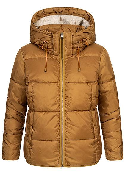 Tom Tailor Damen Winter Steppjacke Kapuze 2-Pockets fudge dunkel braun