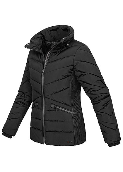 Tom Tailor Damen Winter Steppjacke Stehkragen 2-Pockets deep schwarz
