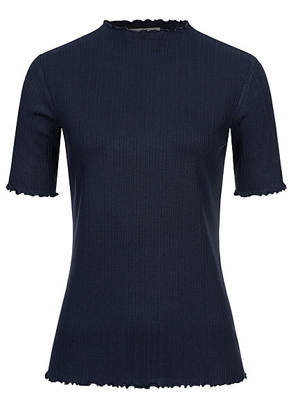 Tom Tailor Damen Ribbed Frill T-Shirt mit Stehkragen sky captain blau - Art.-Nr.: 20094525