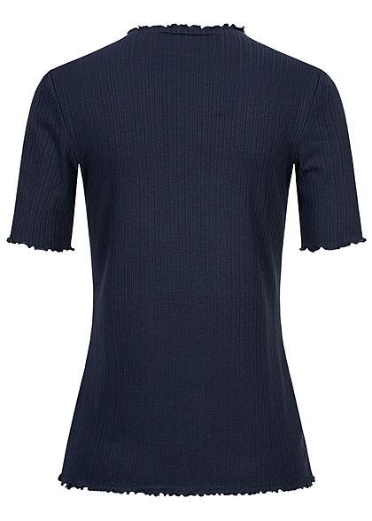 Tom Tailor Damen Ribbed Frill T-Shirt mit Stehkragen sky captain blau