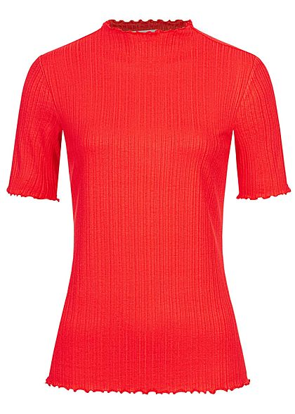 Tom Tailor Damen Ribbed Frill T-Shirt mit Stehkragen strong rot - Art.-Nr.: 20094526