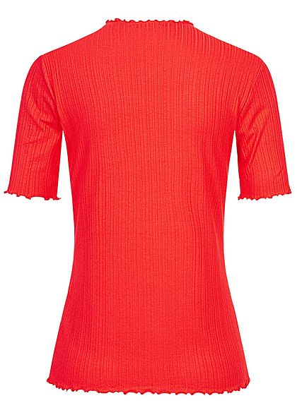 Tom Tailor Damen Ribbed Frill T-Shirt mit Stehkragen strong rot
