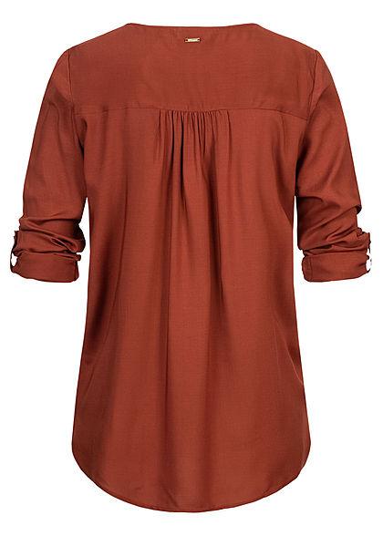 Tom Tailor Damen V-Neck Turn- Up Viskose Bluse Vokuhila unicolor rust orange