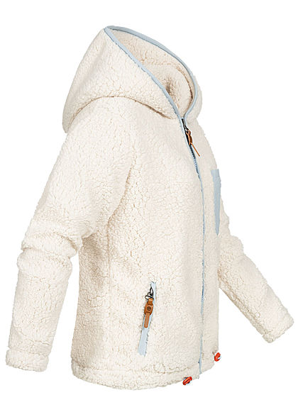 Sublevel Damen Teddy Fleece Jacke Zip-Hoodie 3-Pockets Brusttasche ivory weiss