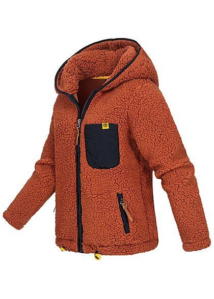 Sublevel Damen Teddy Fleece Jacke Zip-Hoodie 3-Pockets Brusttasche auburn braun