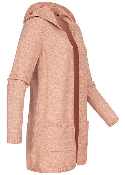 ONLY Damen NOOS Melange Strickcardigan Kapuze 2-Pocket Style misty rosa