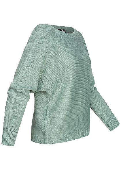 Styleboom Fashion Damen Strickpullover U-Boot jade grün