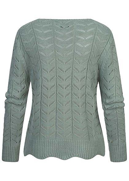 Styleboom Fashion Damen V-Neck Strickpullover Arrow Lochmuster jade grün