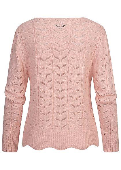 Styleboom Fashion Damen V-Neck Strickpullover Arrow Lochmuster rosa